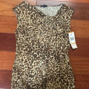 NWT Anne Klein animal print top